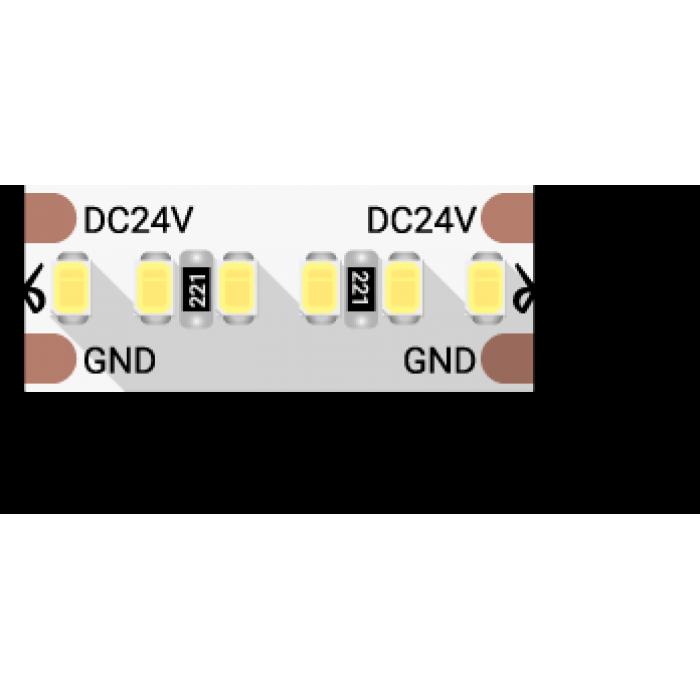 1Лента светодиодная LUX, 2216, 300 LED/м, 20 Вт/м, 24В, IP33, Теплый белый (3000K)