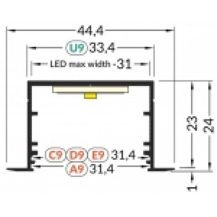 2V3270021 VARIO30-07 Алюминиевый профиль встраиваемый Topmet 3000мм, черный анодированный алюминий