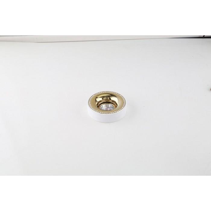 2NC1826-M-W+G Накладная рамка белый+золото MR16