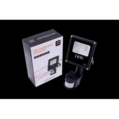 Прожектор светодиодный с датчиком движения 5630 6500К Холодный белыйK FL-SMD-10-CW-S