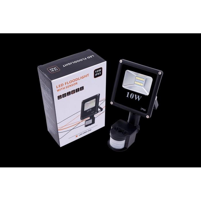 1Прожектор светодиодный с датчиком движения 5630 6500К Холодный белыйK FL-SMD-10-CW-S