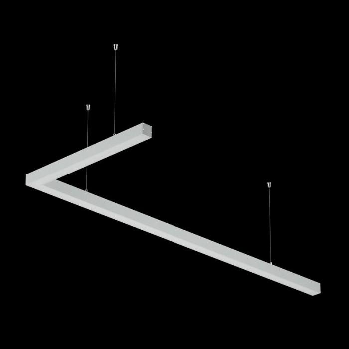 2Светильники из профиля L-Type-5050-1807-65-WW: Профиль LS 5050, Лента 4x DSG 2835 WW 280L-V24-IP33, 700LED, 26W/m, LUX, подвесы. Без блока питания.