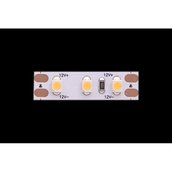 2Лента светодиодная LUX, 3528, 120 LED/м, 9,6 Вт/м, 12В, IP33, Теплый белый (2700K)