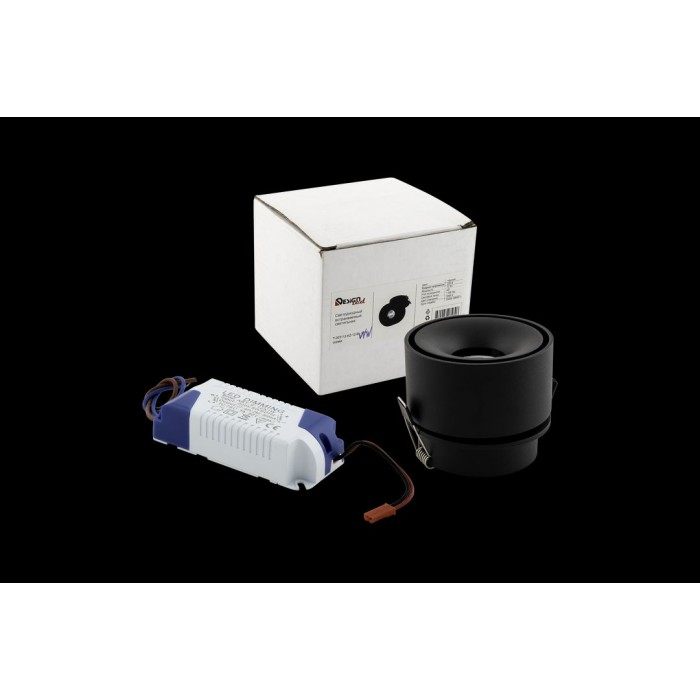 2Светильник светодиодный потолочный встраиваемый поворотный, серия WL, черный, 12Вт, IP20, Теплый белый (3000К)