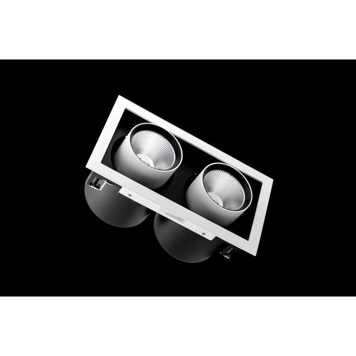 2Светильник светодиодный потолочный встраиваемый поворотно-выдвижной, серия SPL, матовый черный + белый, 25Вт, IP20, Теплый белый (3000К)