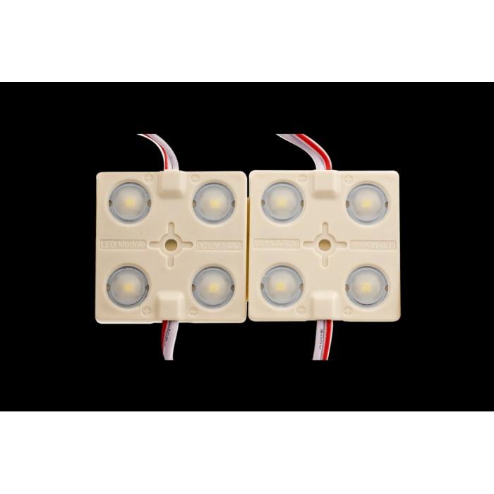 2Модуль светодиодый линзованный SWG, 4LED, 1,44Вт, 12В, IP65, Цвет: 6000-6500 К Холодный белый, провод 9см