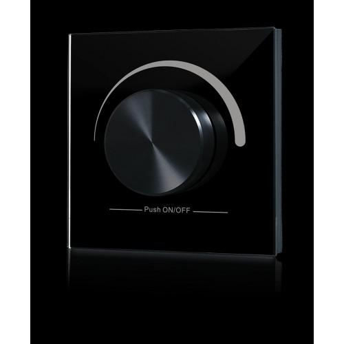 Радио панель W-DIM (B) встраиваемая в стену с валкодером на 1 зону, черная