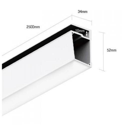 001084 Алюминиевый профиль для стеклянных полок PS.3452