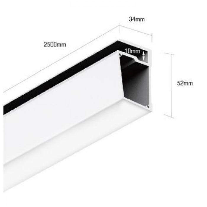 1Алюминиевый профиль для стеклянных полок PS.3452