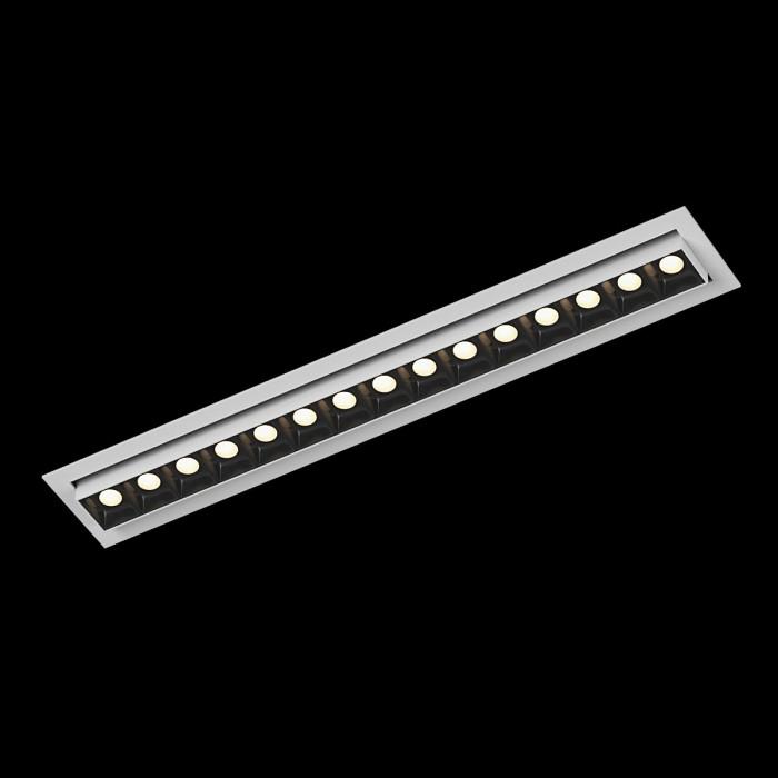 1Светильник светодиодный потолочный встраиваемый наклонный, серия DL-UM9, белый + черный, 18Вт, IP20, Теплый белый (3000К)