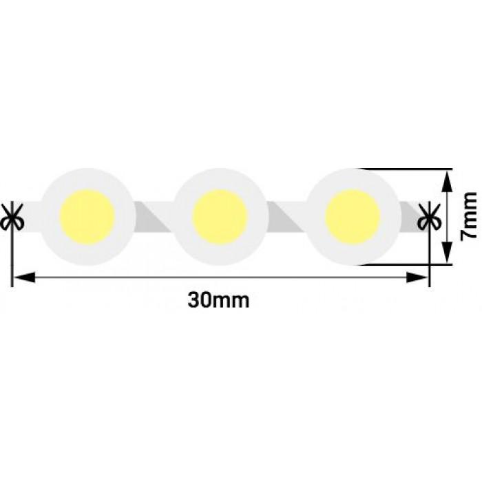1Лента светодиодная DIP 5мм, 96 LED/м, 7,7 Вт/м, 12В, IP68, Цвет: Теплый белый, 970мм