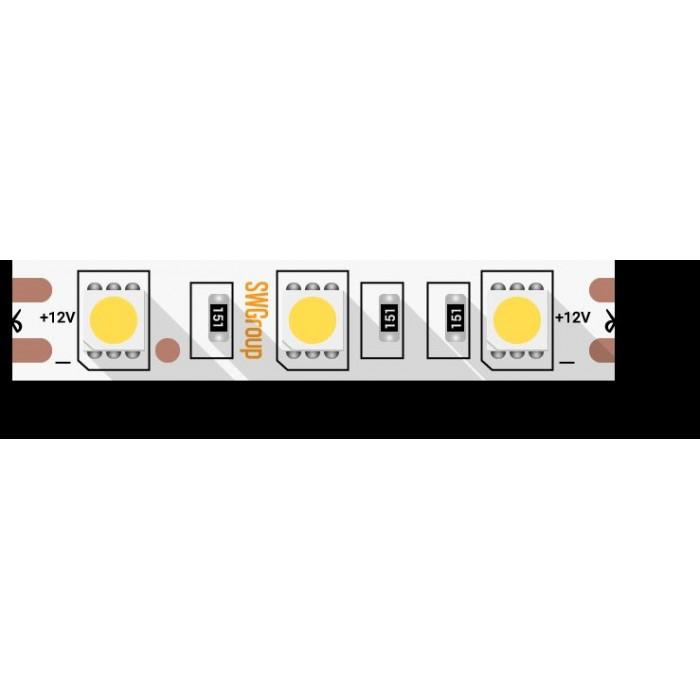 1Лента светодиодная стандарт 5050, 60 LED/м, 14,4 Вт/м, 12В, IP20, Цвет: Холодный белый