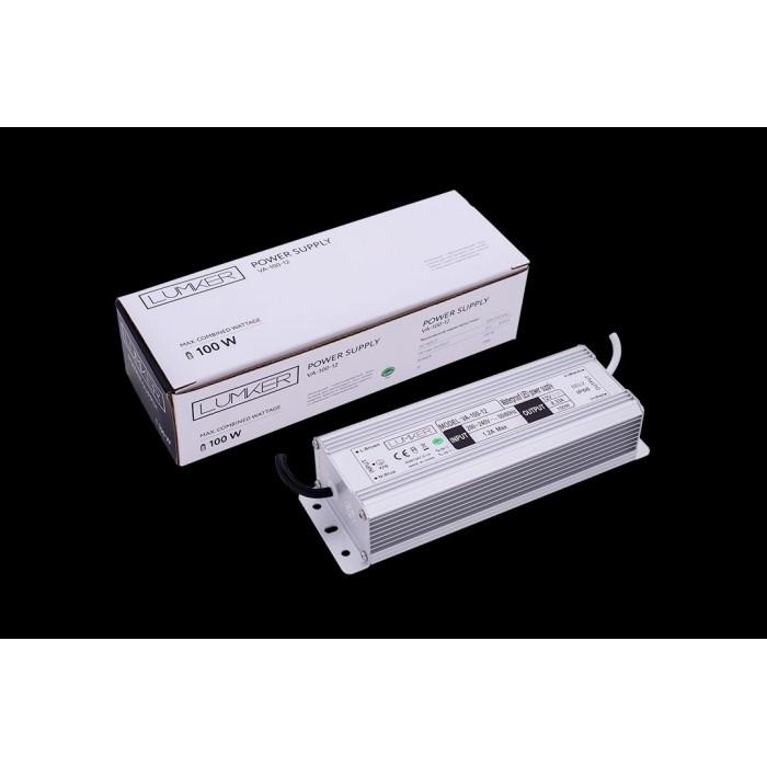 1Блок питания для светодиодной ленты LUX влагозащищенный, 12В, 100Вт, IP67