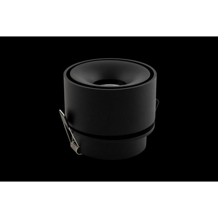 1Светильник светодиодный потолочный встраиваемый поворотный, серия WL, черный, 12Вт, IP20, Теплый белый (3000К)