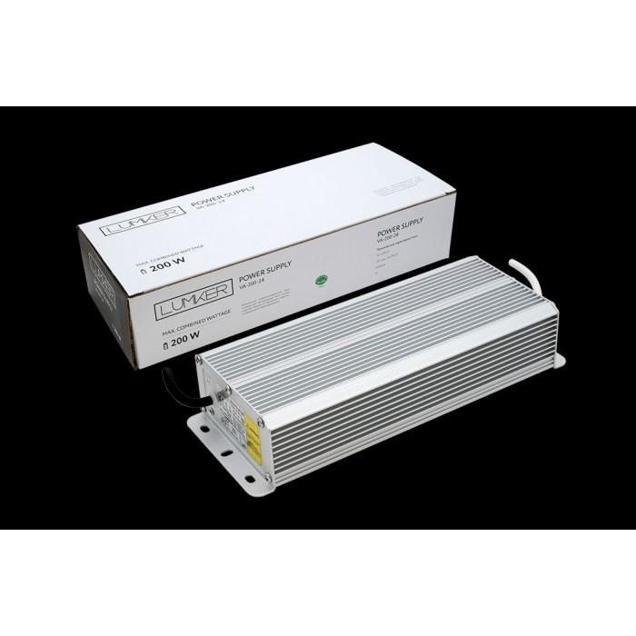 1Блок питания для светодиодной ленты LUX влагозащищенный, 24В, 200Вт, IP67