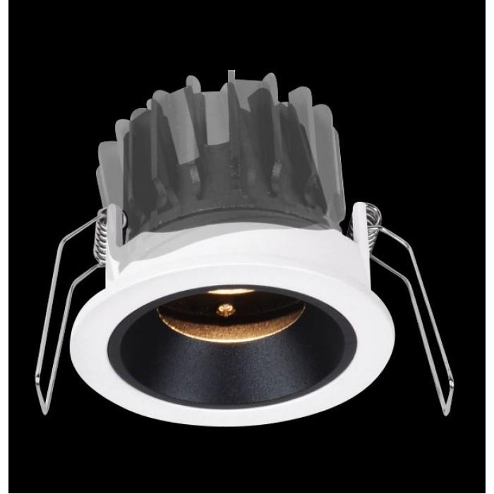 1Светильник светодиодный потолочный встраиваемый наклонный, черно-белый, 7,7Вт, Теплый белый (3000К)