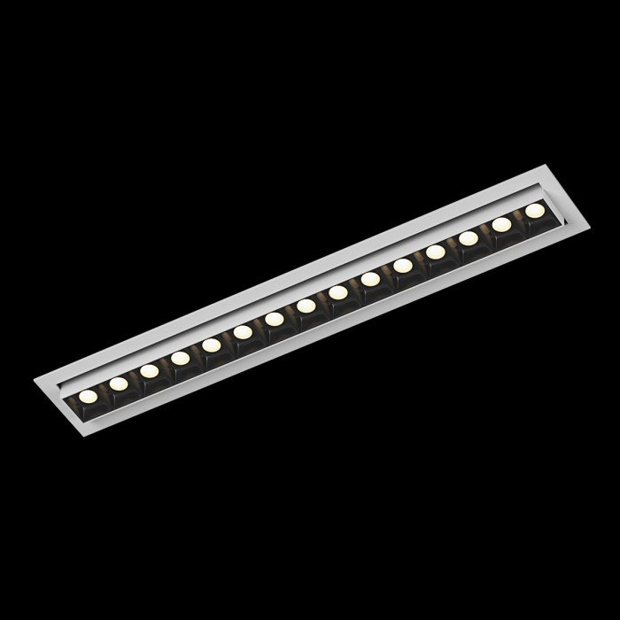 1Светильник светодиодный диммируемый потолочный встраиваемый наклонный, серия DL-UM9, белый + черный, 18Вт, IP20, Теплый белый (3000К)