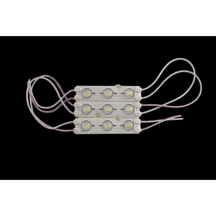 1Модуль светодиодый линзованный SWG, 3LED, 1,2Вт, 12В, IP65, Цвет: 6500К Холодный белый, провод 15см