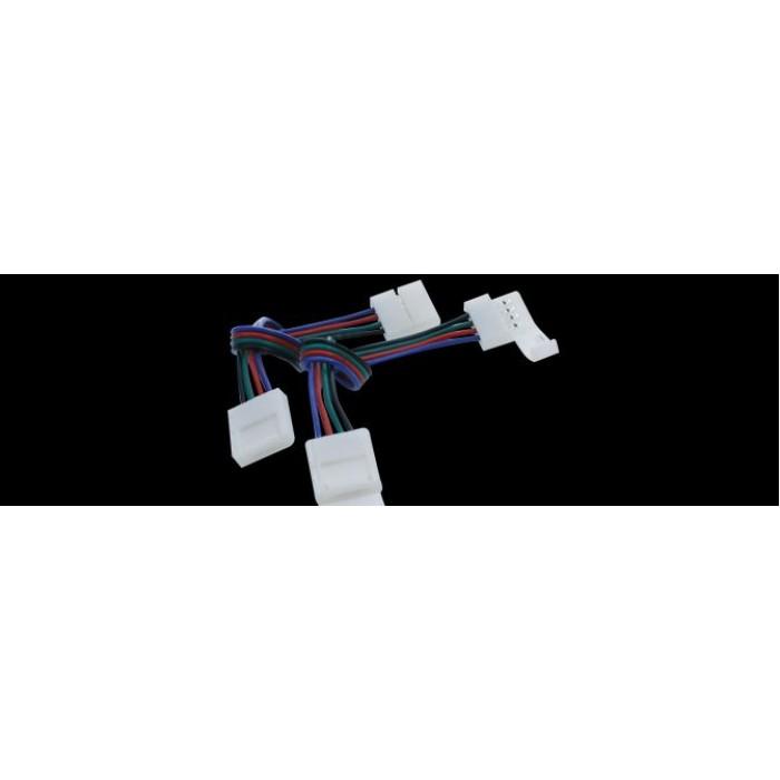 1Коннектор для ленты RGB двуxсторонний (ширина 10 мм,длина провода 15 см )