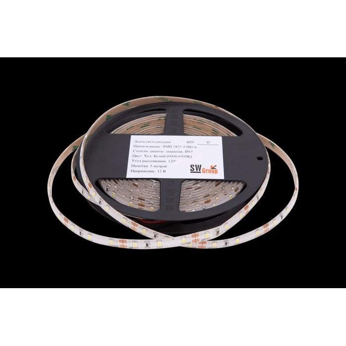 2Лента светодиодная стандарт 2835, 60 LED/м, 4,8 Вт/м, 12В, IP65, Цвет: Холодный белый
