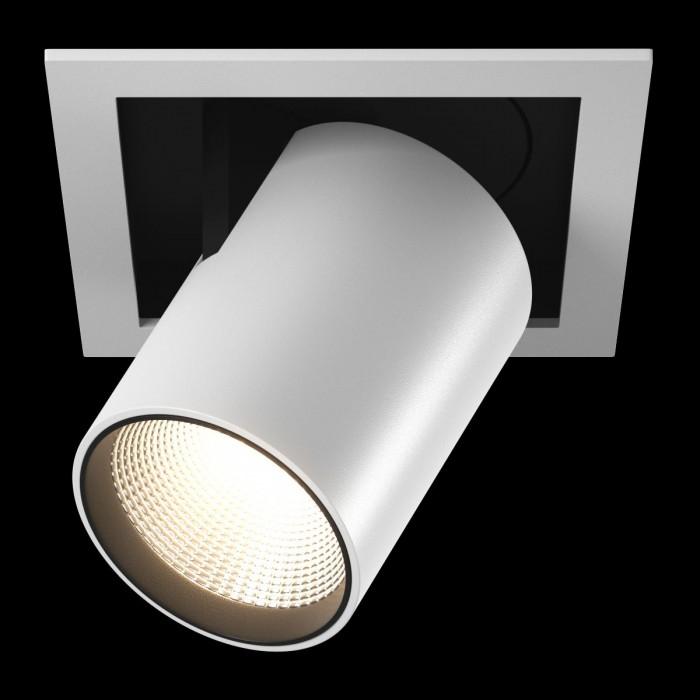 1Светильник светодиодный потолочный встраиваемый поворотно-выдвижной, серия SPL, матовый белый + черный, 25Вт, IP20, Теплый белый