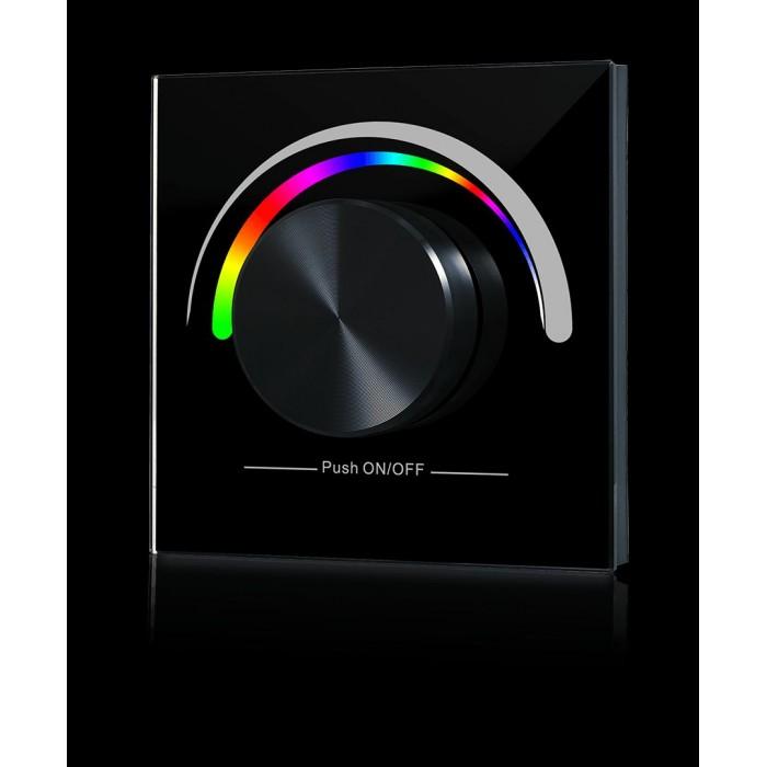 1Радио панель W-RGB (B) встраиваемая в стену с валкодером на 1 зону для RGB ленты, черная