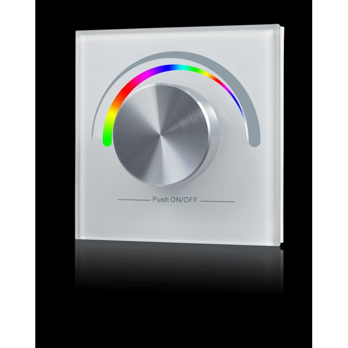 1Радио панель W-RGB (W) встраиваемая в стену с валкодером на 1 зону для RGB ленты, белая
