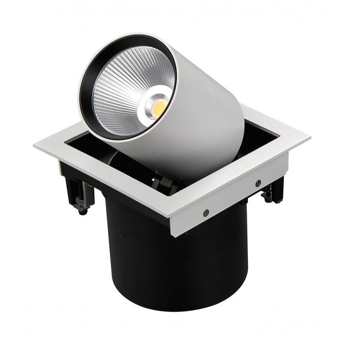 2Светильник светодиодный потолочный встраиваемый поворотно-выдвижной, серия SPL, матовый белый + черный, 25Вт, IP20, Теплый белый