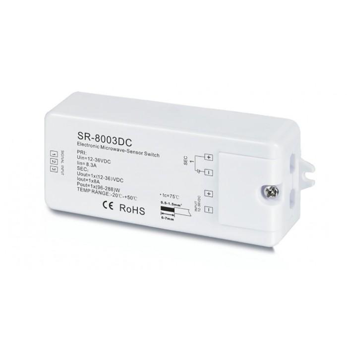 1SR-8003 DC Датчик движения MicroWave. Регуллировка задержки до 10 мин и зоны до 20м. 12-36В