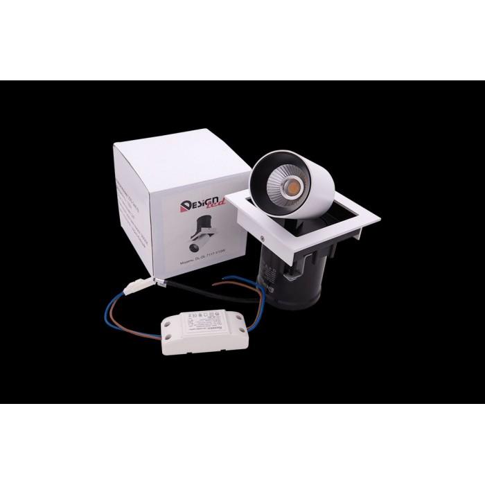 2Светильник светодиодный потолочный встраиваемый поворотно-выдвижной, серия SPL, матовый белый + черный, 12Вт, IP20, Теплый белый (3000К) стоимость