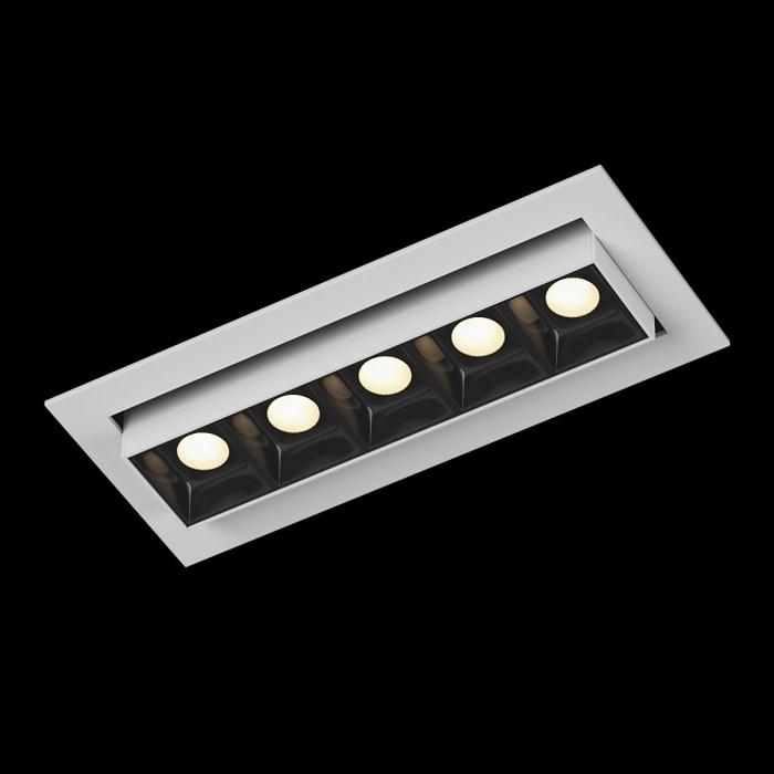 1Светильник светодиодный диммируемый потолочный встраиваемый наклонный, серия DL-UM9, белый + черный, 6Вт, IP20, Теплый белый (3000К)