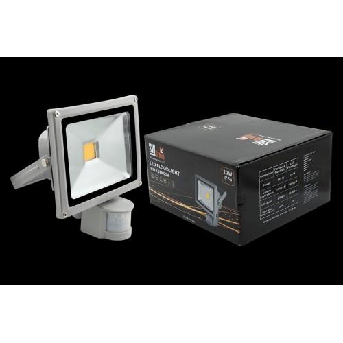Прожектор светодиодный с датчиком движения 3000К Теплый белыйK FL-COB-20-WW-S