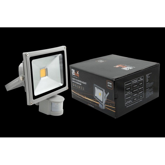 1Прожектор светодиодный с датчиком движения 3000К Теплый белыйK FL-COB-20-WW-S