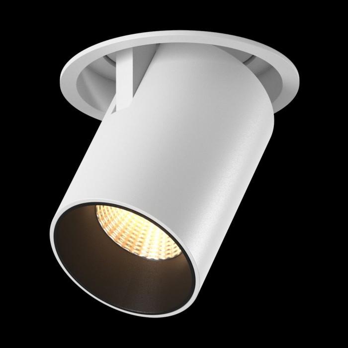 1Светильник потолочный светодиодный потолочный встраиваемый поворотно-выдвижной, серия SPL, матовый белый + черный, 12Вт, IP20, Теплый белый (3000К)