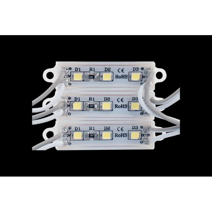 2Модуль светодиодый SWG, 3LED, 0,48Вт, 12В, IP65, Цвет: 6000-6500 К Холодный белый, провод 9см