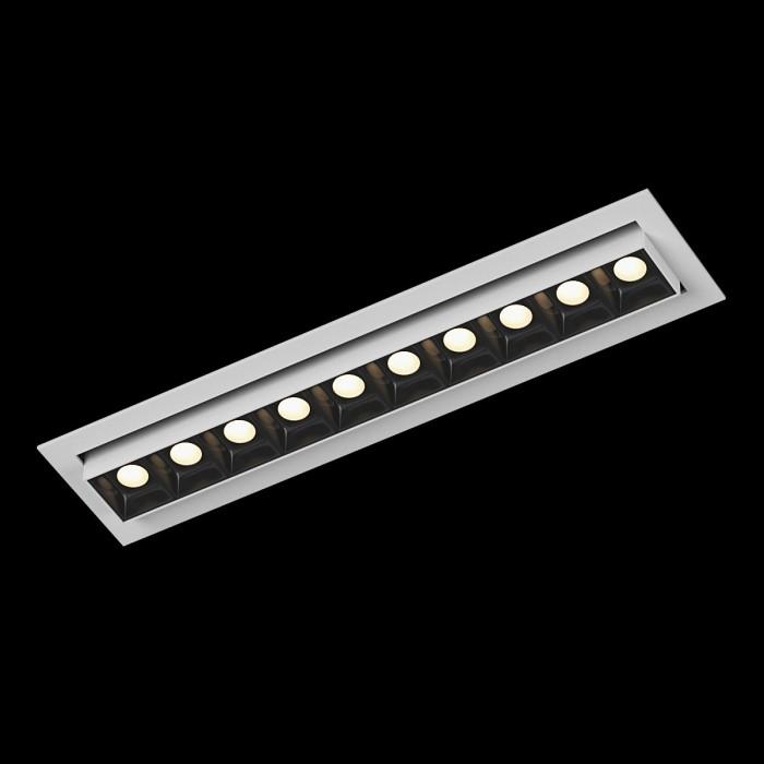 1Светильник светодиодный потолочный встраиваемый наклонный, серия DL-UM9, белый + черный, 12Вт, IP20, Теплый белый (3000К)