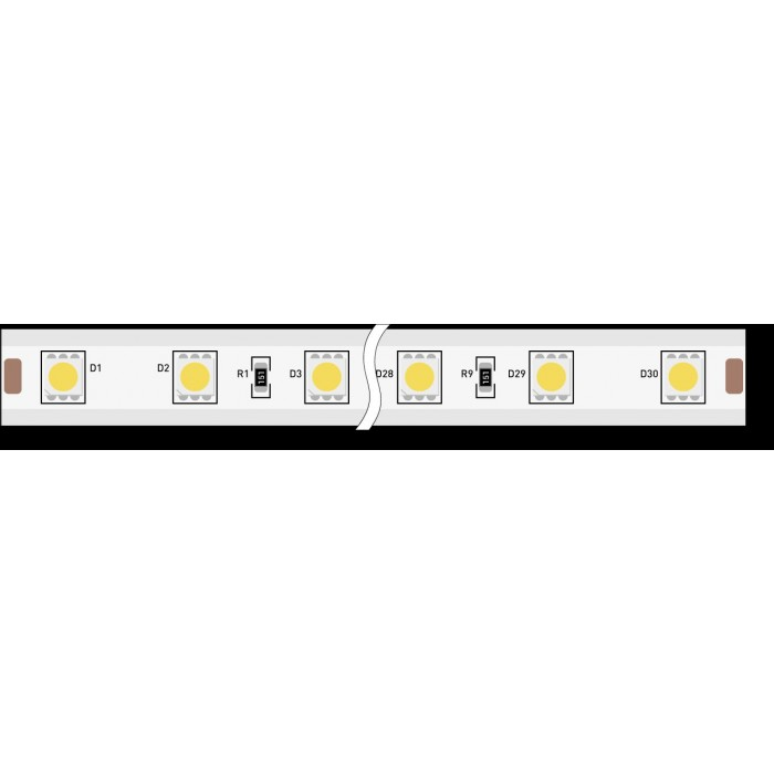 1Лента светодиодная 220, SMD5050, 60LED/м, кат 50м, 14,4 Вт/м, IP68, Теплый белый (2700-3000К Теплый белый)