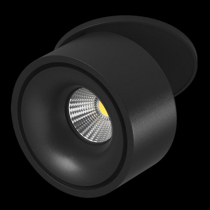 1Светильник светодиодный потолочный встраиваемый наклонно-поворотный, серия LK, Черный, 9Вт, IP20, Теплый белый (3000К)