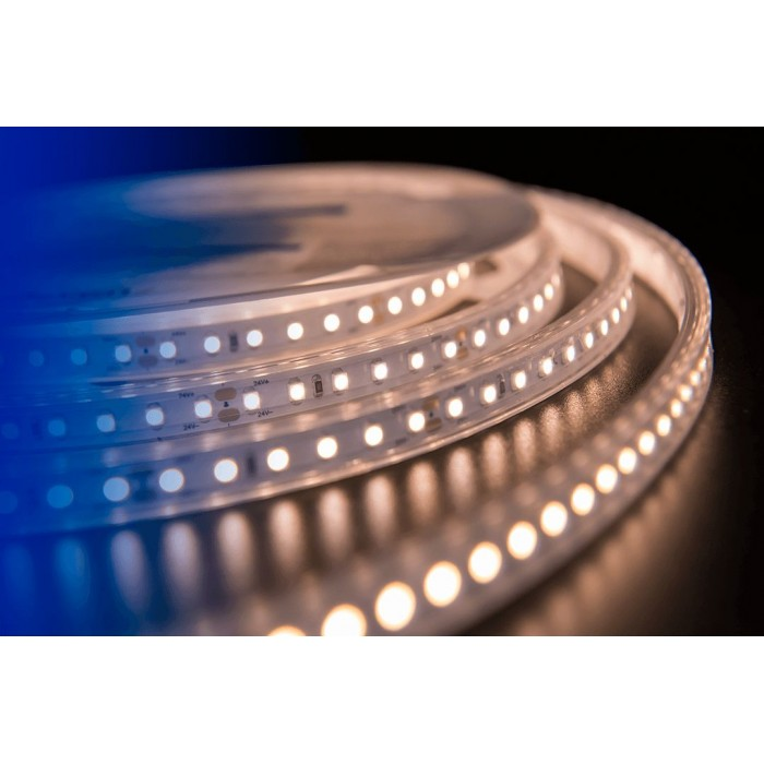 2Лента светодиодная LUX, 3528, 120 LED/м, 9,6 Вт/м, 24В, IP65, Теплый белый (2700K)