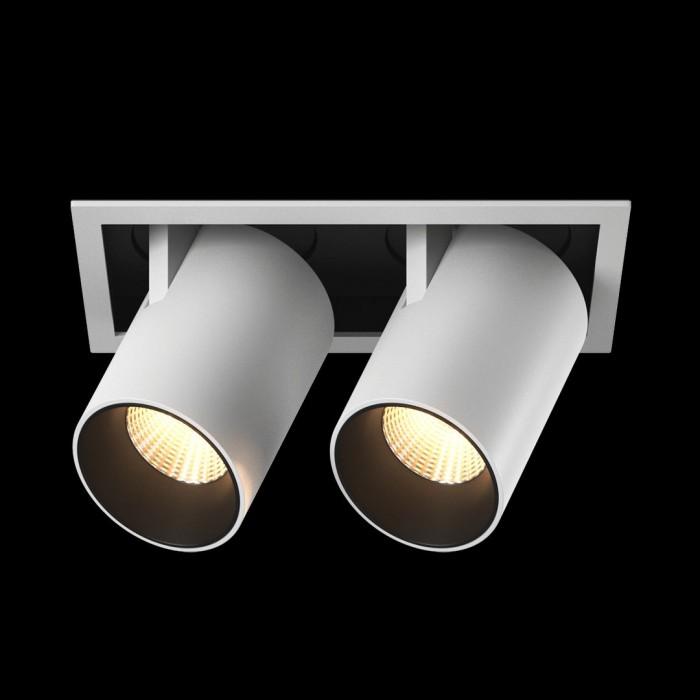 1Светильник светодиодный потолочный встраиваемый поворотно-выдвижной, серия SPL, матовый белый + черный, 12Вт, IP20, Теплый белый (3000К)