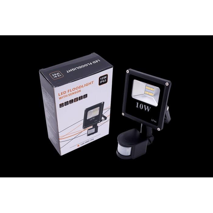 1Прожектор светодиодный с датчиком движения 5630 3000К Теплый белыйK FL-SMD-10-WW-S