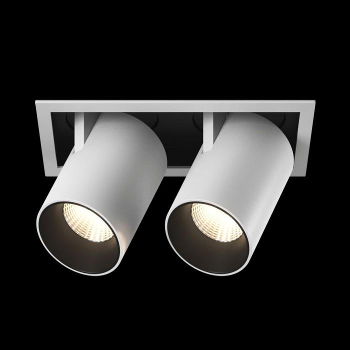 1Светильник светодиодный потолочный встраиваемый поворотно-выдвижной, матовый белый + черный, 12Вт, IP20, Нейтральный белый (4000К)